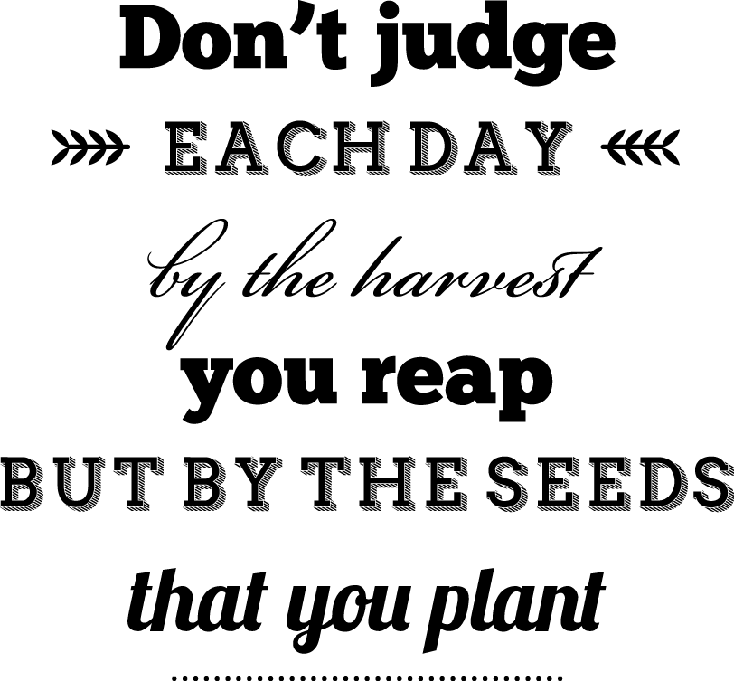 Don't judge each by the harvest you reap but by the seeds that you plant